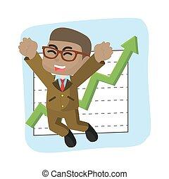 homme affaires, graphique, africaine, heureux