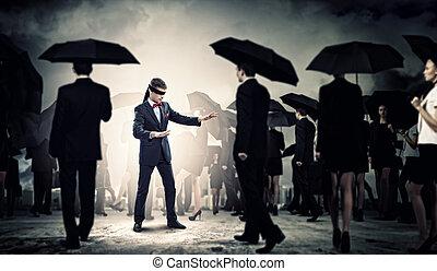 homme affaires, groupe, bandeausur les yeux, gens