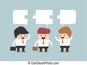 homme affaires, groupe, conversation