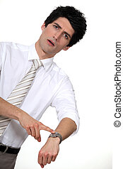 homme affaires, hâte, sien, montre, pointage