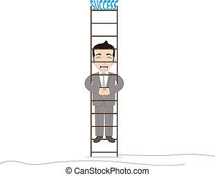 homme affaires, haut, escalade
