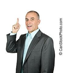 homme affaires, haut, pointage