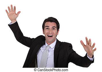 homme affaires, heureux, élévation, mains