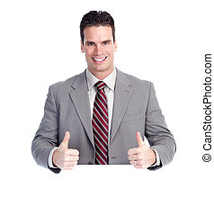 homme affaires, heureux, banner.