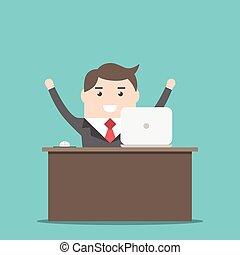 homme affaires, heureux, bureau