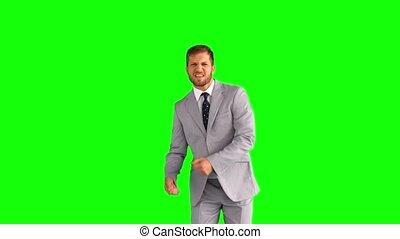 homme affaires, heureux, danse