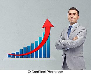 homme affaires, heureux, diagramme croissance, complet