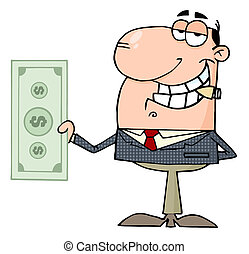 homme affaires, heureux, dollar, grand, spectacles