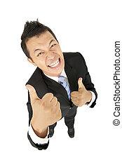 homme affaires, heureux, pouces haut, asiatique