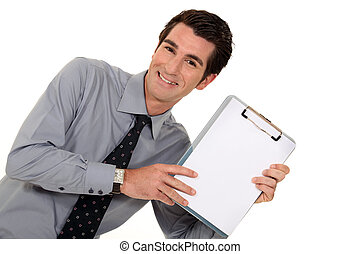 homme affaires, heureux, tenu, presse-papiers