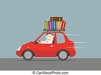 homme affaires, heureux, voyager, voiture