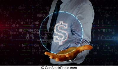 homme affaires, hologramme, symbole dollar