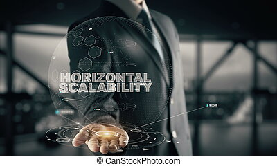homme affaires, horizontal, concept, hologramme, scalability