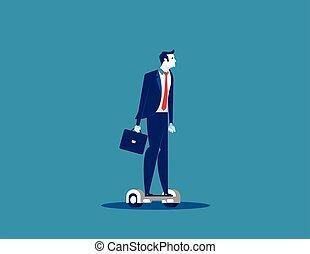 homme affaires, hoverboard., concept, business, illustration., vecteur, équitation