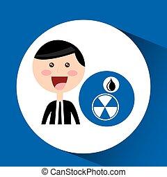 homme affaires, huile, concept, contamination, signe
