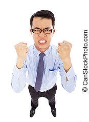 homme affaires, hurlement, fâché, poing, faire