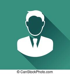 homme affaires, icône