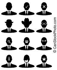 homme affaires, icônes