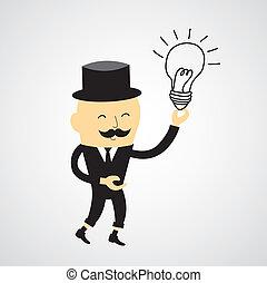 homme affaires, idée, ampoule