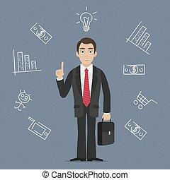 homme affaires, idée, business