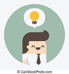 homme affaires, idées, jeune