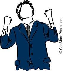 homme affaires, illustrati, gagnant, heureux