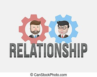 homme affaires, illustrati, relation