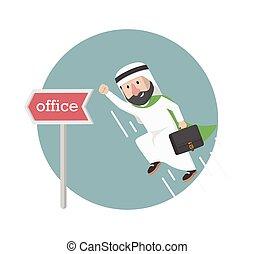 homme affaires, illustration, bureau, aller, arabe