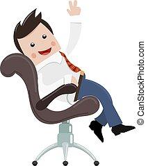 homme affaires, image, businessman., satisfait, couleur chaise, heureux, réussi, jeune