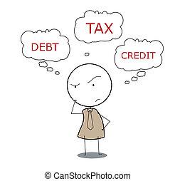 homme affaires, impôt