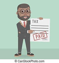 homme affaires, impôt, payé