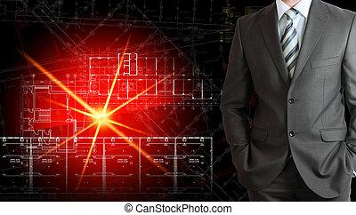 homme affaires, incandescent, suit., architectural, dessin