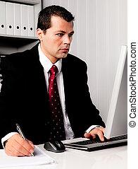 homme affaires, informatique, bureau