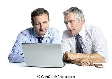 homme affaires, informatique, compétence, fonctionnement, équipe