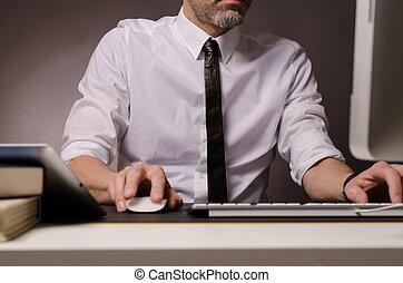 homme affaires, informatique