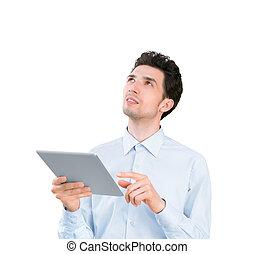 homme affaires, informatique, jeune, tablette