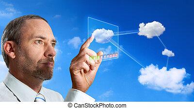 homme affaires, informatique, nuage, virtuel, travaux