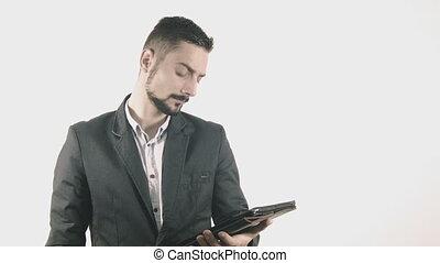 homme affaires, informatique, pc tablette