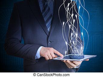 homme affaires, informatique, tenue, tablette, complet
