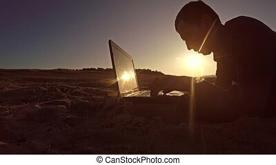 homme affaires, informatique, utilisation