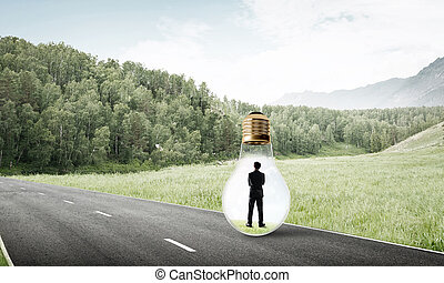 homme affaires, intérieur, ampoule