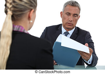 homme affaires, interviewer, candidat