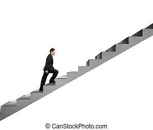 homme affaires, isolé, béton, escalier, escalade, blanc