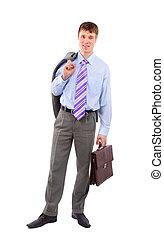 homme affaires, isolé, blanc
