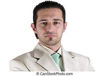 homme affaires, isolé, portrait