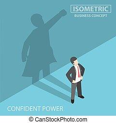 homme affaires, isométrique, sien, superhero, ombre