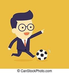 homme affaires, jeu, football
