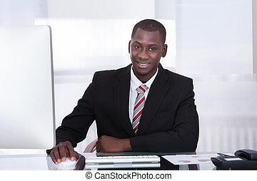 homme affaires, jeune, africaine