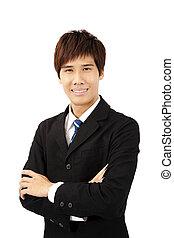 homme affaires, jeune, asiatique