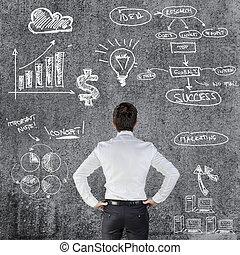 homme affaires, jeune,  Business,  plan